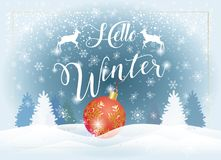 Hello Winter Holiday Snowy Landscape. Hello Winter calligraphy text, Christmas, New Year Holiday greeting card, celebrate, snowy landscape with Christmas red Royalty Free Stock Images