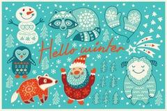 Hello winter card in cartoon style Royalty Free Stock Photos