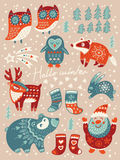 Hello winter card. Christmas set with cartoon characters. Vector illustration Royalty Free Stock Photography