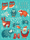 Hello winter card. Christmas set with cartoon characters. Vector illustration Royalty Free Stock Image