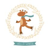 Hello winter card with cute deer boy ice skating Royalty Free Stock Image