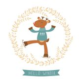 Hello winter card with cute deer boy ice skating Stock Image