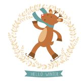 Hello winter card with cute deer boy ice skating Royalty Free Stock Images