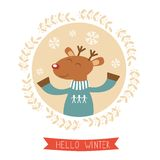 Hello winter card with cute deer boy portrait Stock Photography