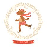Hello winter card with cute deer girl Royalty Free Stock Photo