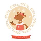 Hello winter card with cute deer girl portrait Stock Photo