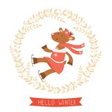 Hello winter card with funny deer girl ice skating Stock Images