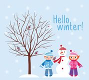 Hello winter. Children with a snowman in a winter park. Winter background. Design elements for Christmas, New Year vector illustration
