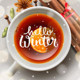 Hello winter, Christmas tea with spices Royalty Free Stock Photo