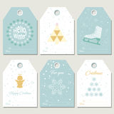 Hello winter. Collection Christmas gift tags Stock Photo