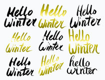 Hello Winter Collection text. Vector. Lettering. Drawing by hand. Caption brush. Letters. Stock Image