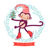 Hello winter concept card with monkey - symbol of. 2016 new year. Vector illustration Royalty Free Stock Photography