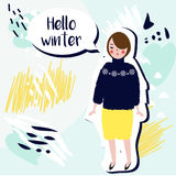 Hello winter creative card. Fashionable Girl in winter sweater on artistic background. hand drawn style Stock Photo