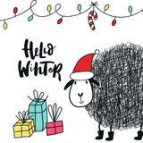 Hello winter - Cute and fun New Year card with sheep in santa hat, decorations and hand drawn lettering. Vector illustration stock illustration