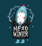 Hello Winter Cute Funny Sheep in Hat Design Royalty Free Stock Photography