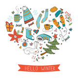 Hello winter cute hand drawn card with winter graphics composed in a shape of a heart Royalty Free Stock Photos