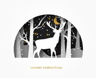 Hello winter 3d abstract paper cut illustration of deer in the forest snow. moon and stars in the night. Vector. Hello winter 3d abstract paper cut illustration Stock Photos