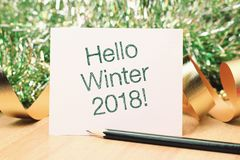Hello winter with decoration. Wishing you wonderful memories during this joyous season royalty free stock photography