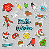 Hello Winter Doodle with Christmas Decoration - Snowman, Ski and Sweater. badges, patches and stickers. Hello Winter Doodle with Christmas Decoration - Snowman Stock Photo