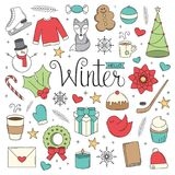 Hello Winter Doodles. A collection of Christmas/Winter illustrations in a doodle style Royalty Free Stock Photo