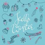 Hello winter doodles Stock Photos