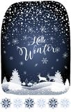 2019 Hello Winter Fairy Tale Holiday Happy New Year Christmas Snowy Forest Landscape with reindeer stock illustration