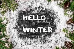 HELLO WINTER greeting card. concept of the fall season stock photo