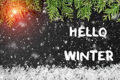 HELLO WINTER greeting card. concept of the fall season royalty free stock images