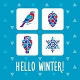 Hello Winter. Greeting card with set of winter attributes royalty free illustration
