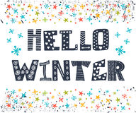 Hello Winter greeting card. Winter concept card. Cute postcard w Stock Images