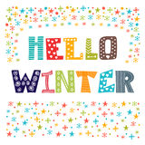Hello Winter greeting card. Winter concept card Stock Photo