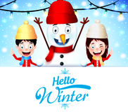 Hello Winter Greeting With Kids Vector Characters and Snowman with Empty White Space Royalty Free Stock Image
