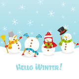 Hello Winter. Group of cute snowman celebrating winter royalty free illustration