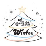 Hello winter hand lettering. Fir tree, star, decorated with garlands of beads. Holiday card for the New Year, Christmas. Hello winter hand lettering. Fir tree Royalty Free Stock Images