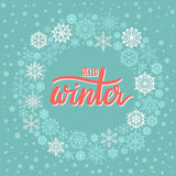 Hello Winter hand lettering greeting card. Modern calligraphy. Christmas Wreath. Vector Illustration stock illustration
