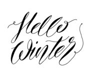 Hello Winter hand lettering text. Brush Calligraphy . Vector illustration for winter season poster, postcard, greeting card,. Invitation template royalty free illustration