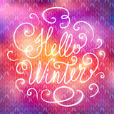 Hello winter hand lettering Stock Photos