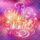 Hello winter hand lettering Stock Photos