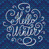 Hello winter hand lettering stock illustration