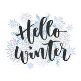Hello winter hand written inscription Stock Photography