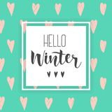 Hello Winter handlettering inscription. invitation,greeting card,prints.Hand drawn winter phrase on abstract hearts background. Hello Winter handlettering Royalty Free Stock Photography