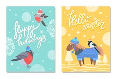 Merry Christmas and Happy Holidays 70s Postcard. Hello winter and happy holidays postcards with bullfinch in hat and donkey with bird on back. Vector Stock Image