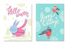 Merry Christmas and Happy Holidays 70s Postcard. Hello winter and happy holidays 70s postcard with bullfinch in hat and rabbit in pink sweater scarf. Vector Royalty Free Stock Photography