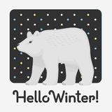Hello Winter holiday card with an inscription with a cute white bear stock illustration