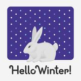 Hello Winter holiday card with an inscription with a cute white rabbit stock illustration
