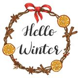 Hello winter. Illustration with lettering and Christmas wreath royalty free illustration