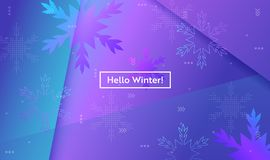 Hello Winter Layout with Snowflakes for Web, Landing Page, Banner, Poster, Website Template. Snow Christmas Background stock illustration