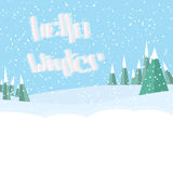 Hello winter lettering.winter snowdrift landscape. snowing. Christmas tree on the background Royalty Free Stock Images