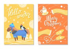 Merry Christmas Winter Postcards Donkey and Cloth. Hello winter Merry Christmas postcards with donkey hipster in sweater with bullfinch on his bag, warm knitted Royalty Free Stock Photos