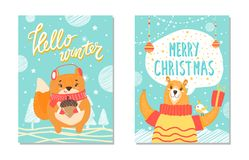 Hello Winter Christmas Set Vector Illustration Stock Images